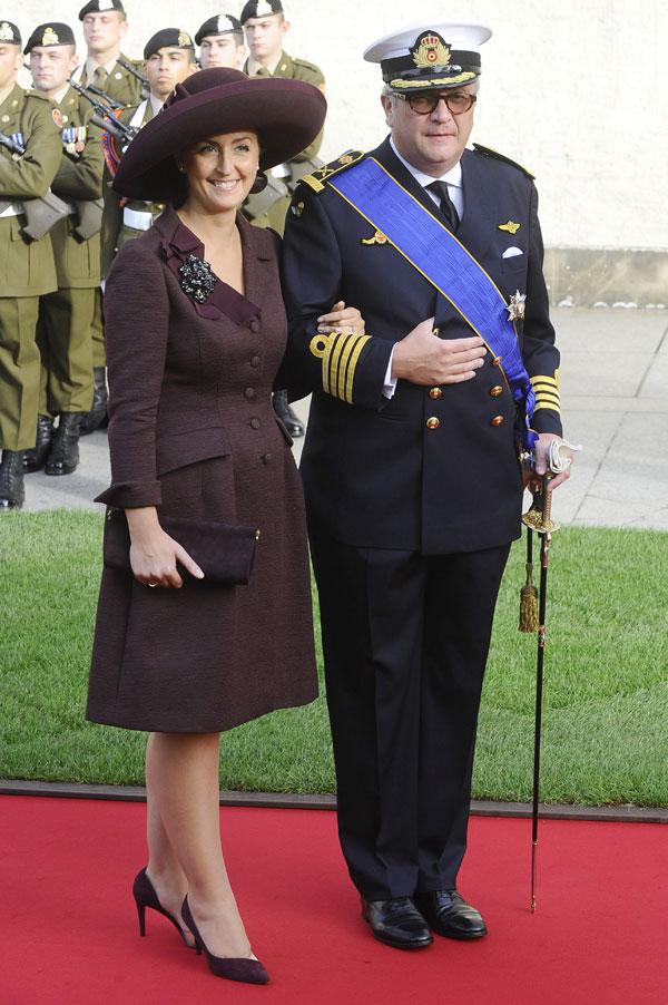 Laurent de Bélgica y su esposa
