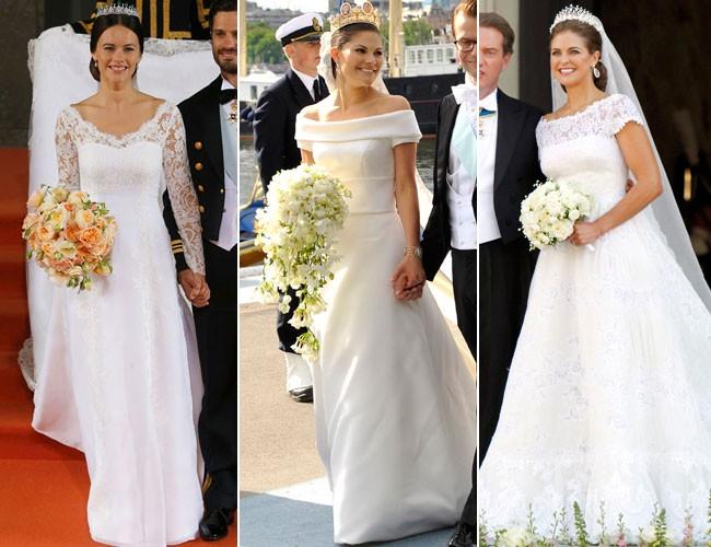 los vestidos de novia de las princesas de suecia: ¿cuál te gusta más