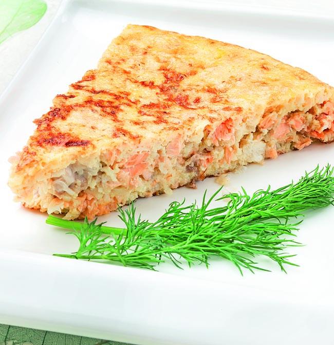 Tortilla de merluza y salmón
