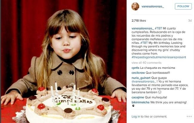 Publicación en el perfil de Vanesa Lorenzo en Instagram