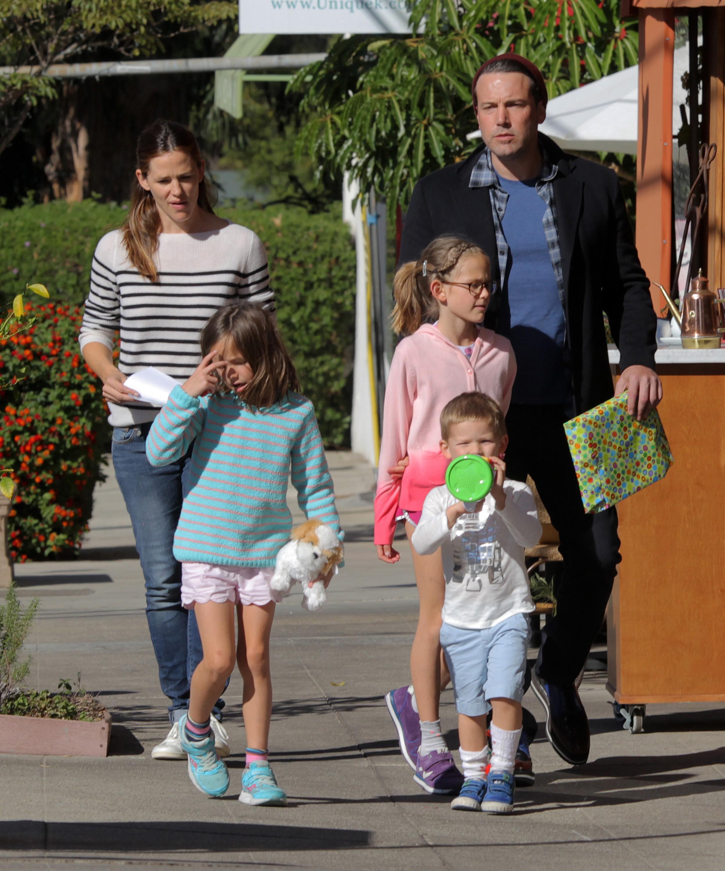 Actors Ben Affleck and Jennifer Garner with their children Violet, Seraphina, and Samuel Affleck in Los Angeles on November 14, 2015.