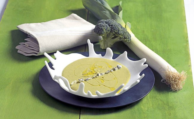 Crema de brócoli con queso azul