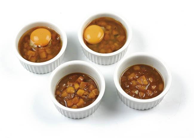 Huevos escalfados con salsa de Oporto