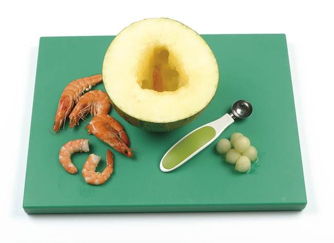 Pincho de melón con langostino