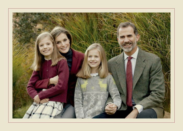Kings of Spain Felipe VI and Letizia with their daughters the Princess Leonor and the Infanta Sofia congratulate the Christmas. 12 December 2016