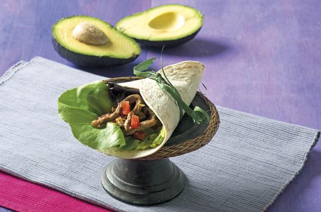Fajita de ternera con guacamole