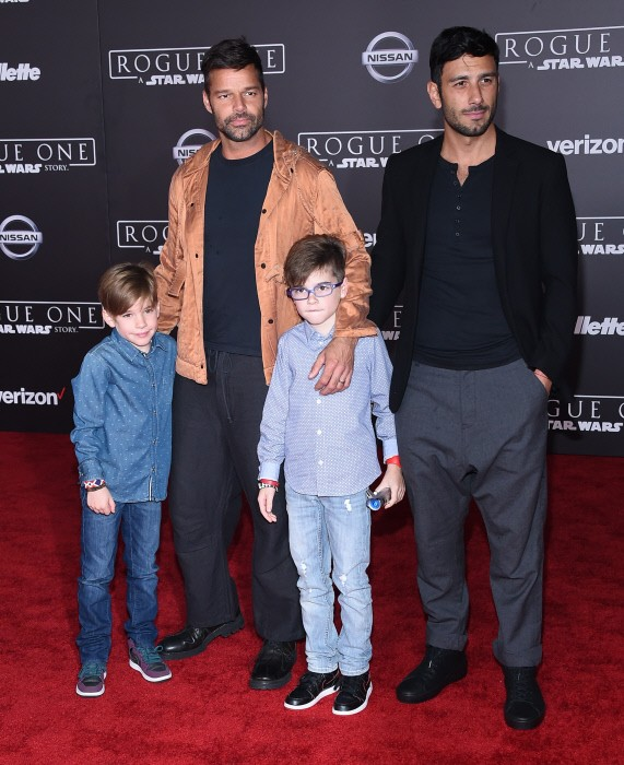 Matteo Martin , singer Ricky Martin , Jwan Yosef and Valentino Martin arriving to 'Rogue One: A Star Wars Story' World Premiere in Hollywood, CA. 10/12/2016