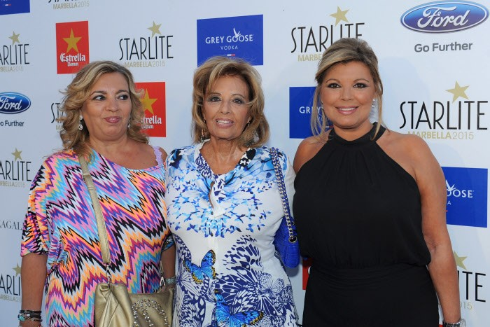 Journalist Maria Teresa Campos and presenter Terelu Campos with Carmen Borrego during Starlite Festival of Marbella on Thursday 13 August 2015
