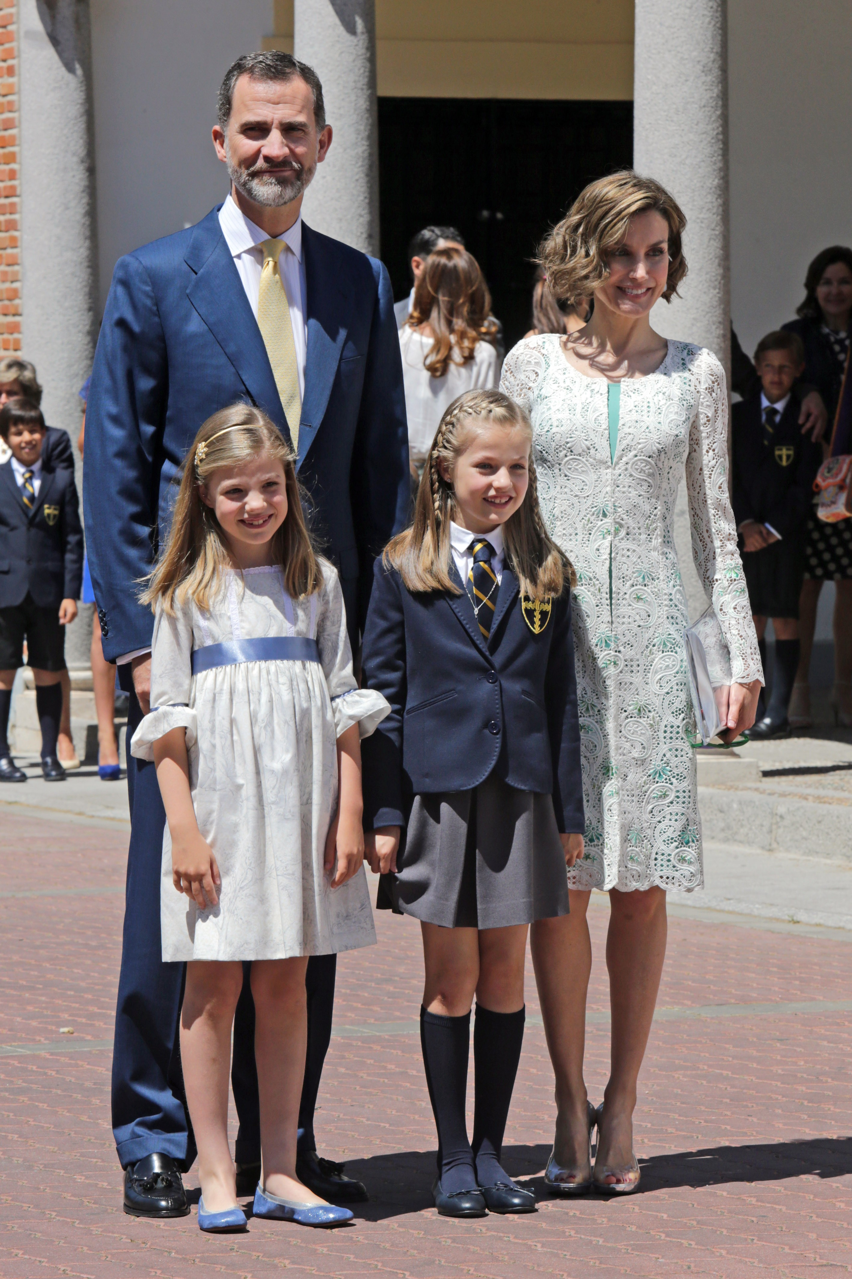 Spain's King Felipe VI, Queen Letizia and princess Sofia of Borbon attend Princess of Asturias Leonor de Borbon First Holy Communion in Madrid on Wednesday 20th May 2015