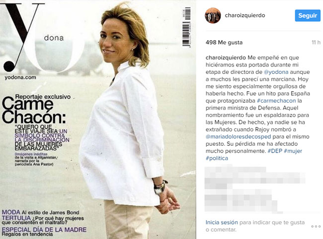 Este es el mensaje y la foto que ha compartido Charo Izquierdo para recordar el reportaje que le hicieron a Carme Chacón en Yo Dona.