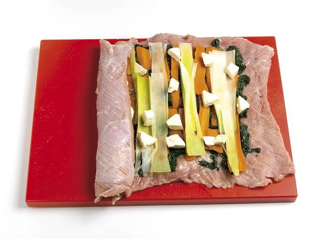 Aleta rellena de verduras