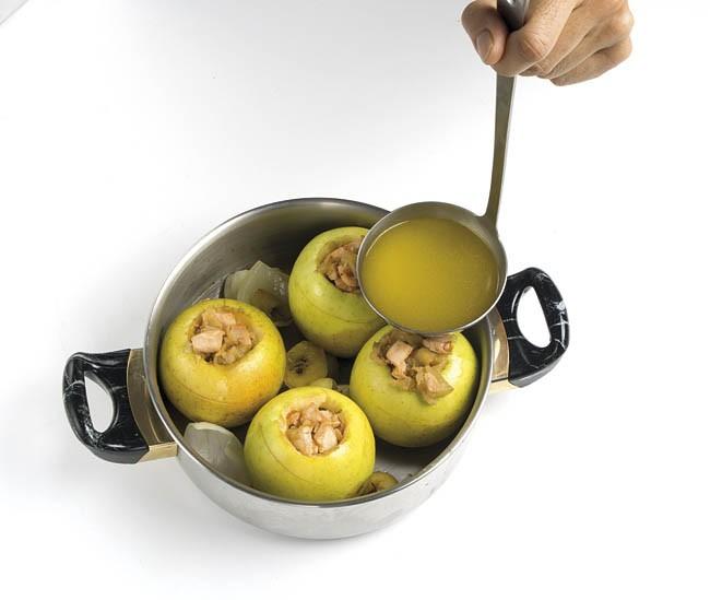 Manzanas rellenas de salmón