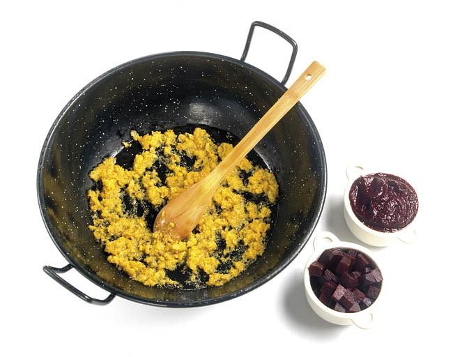 Risotto de remolacha con queso azul
