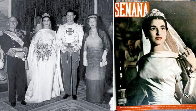 Boda de Carmen Franco y Cristóbal Martínez-Bordiú, el 10 de abril de 1950, tal como fue publicada en la revista Semana.