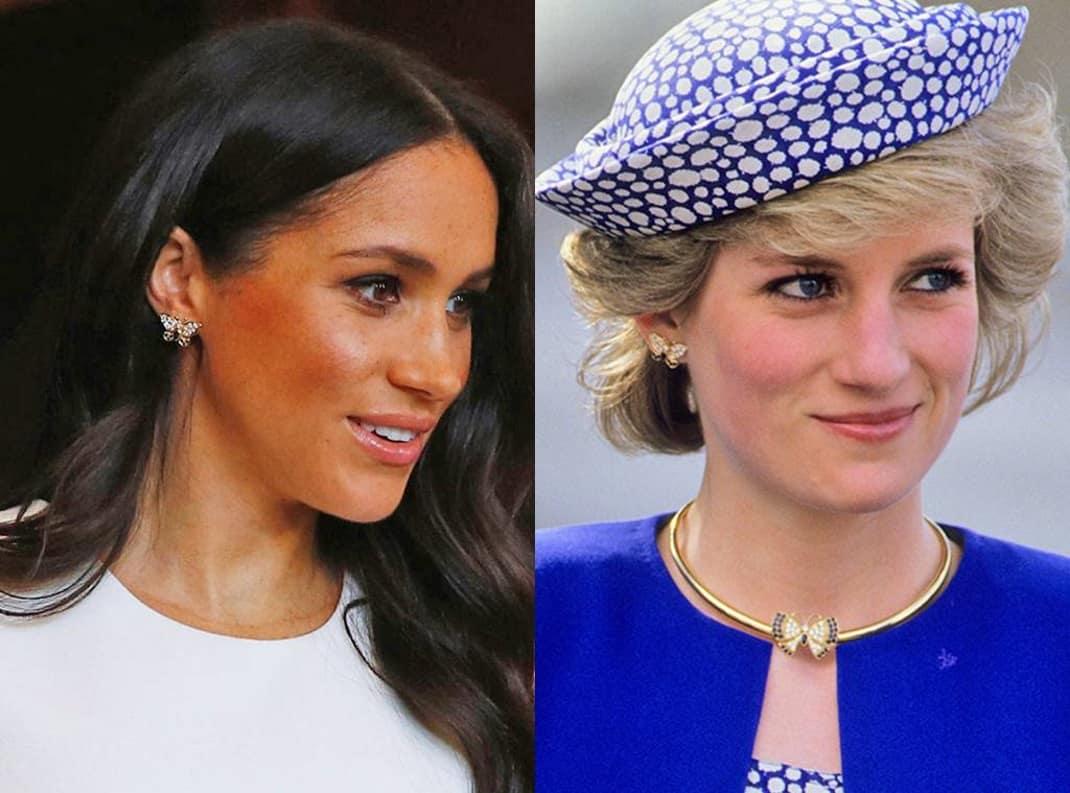 244e1e4767c1 Esta misma semana Meghan lucía unos pendientes en forma de mariposa y una  pulsera de oro de la colección personal de Diana de Gales en su primera  aparición ...