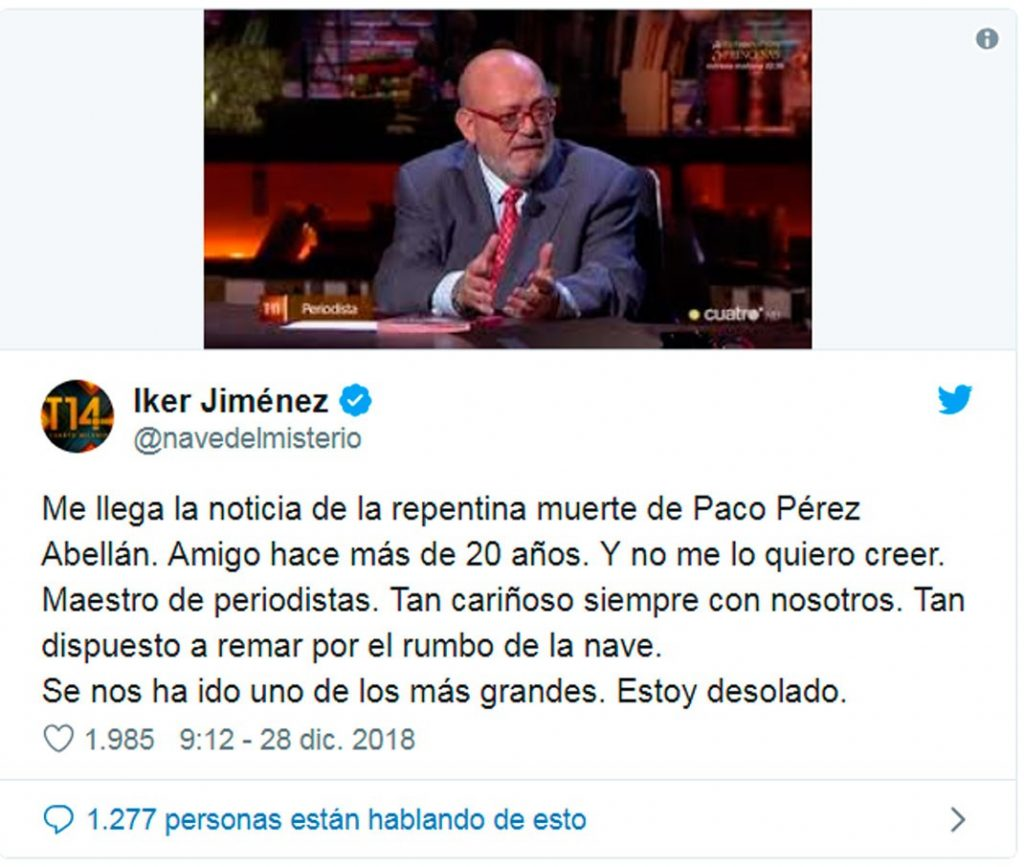 Iker Jiménez despide a Francisco Pérez, colaborador de Cuarto Milenio