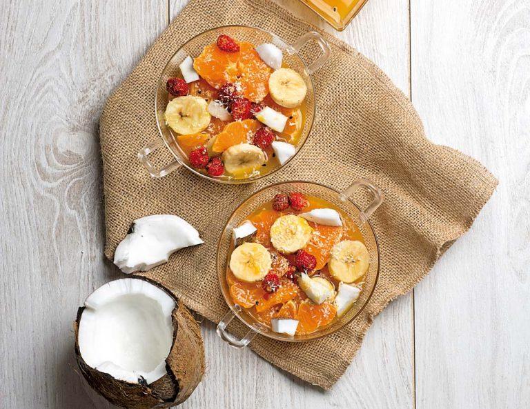 Macedonia de mandarinas, plátano y coco