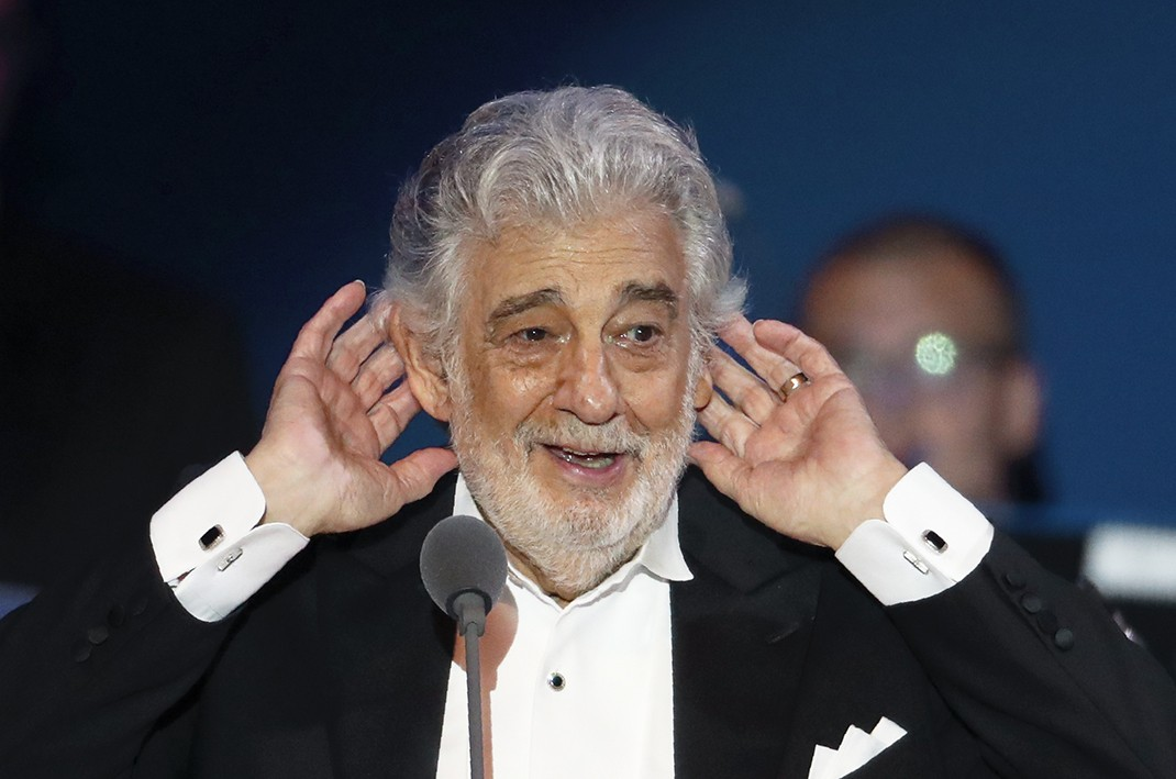 Opera tenor Placido Domingo at the end of a concert in Szeged, Hungary, Wednesday, Aug. 28, 2019.  *** Local Caption *** .