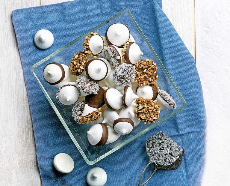 Bocados de merengue con chocolate