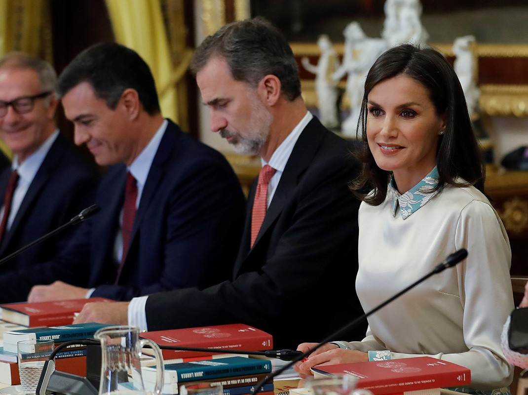 La Reina Letizia, Rey Felipe y Pedro Sánchez
