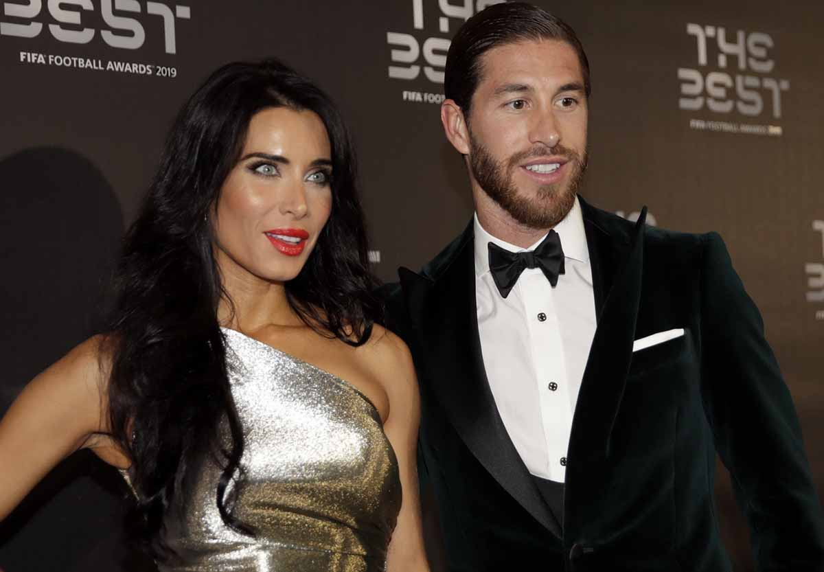 Sergio Ramos with his partner Pilar Rubio to attend the Best FIFA soccer awards, in Milan's , northern Italy, Monday, Sept. 23, 2019.