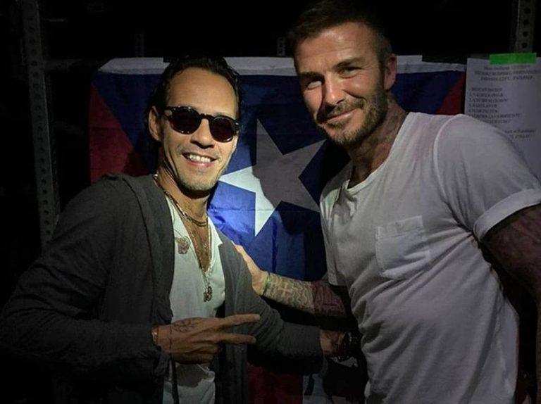 David Beckham se sube al escenario con Marc Anthony