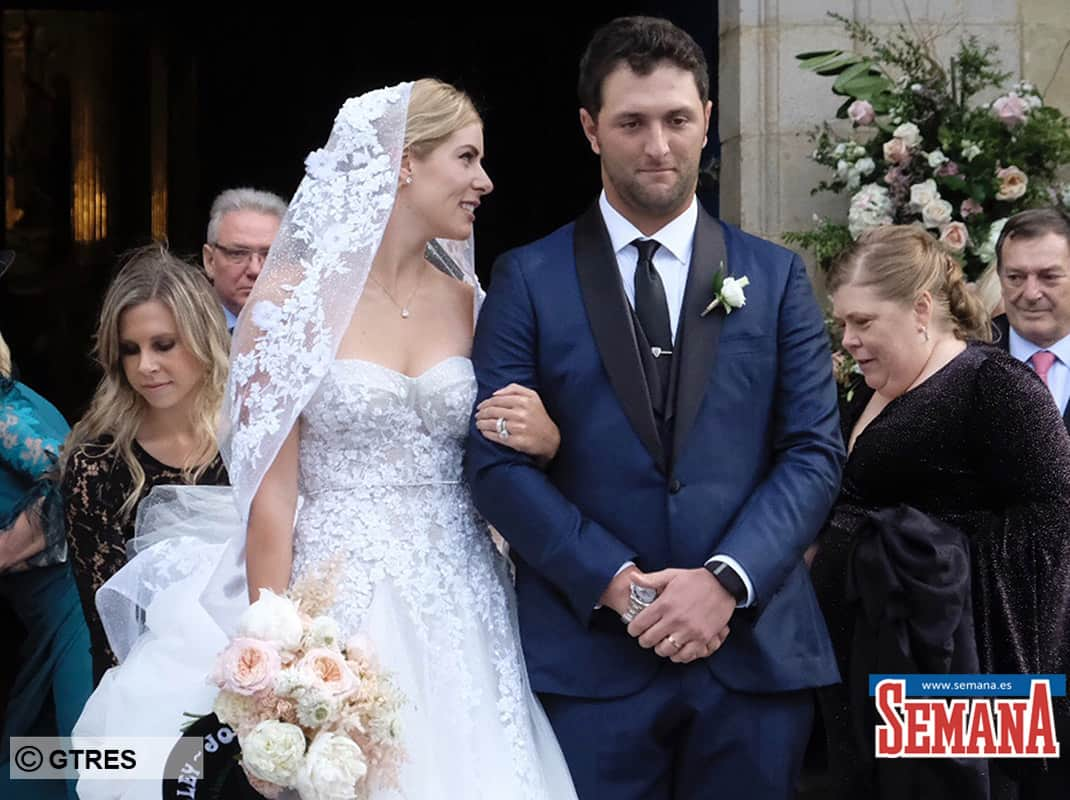 Jon Rahm and Kelley Cahill  during their wedding in Bilbao on Friday, 13 December2019.
