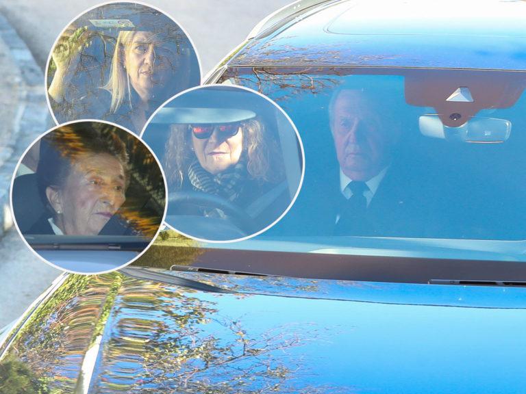 Don Juan Carlos, las Infantas Cristina y Elena dan el último adiós a la Infanta Pilar