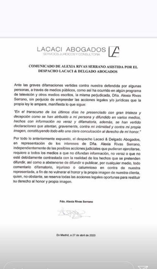 Alexia Rivas comunicado
