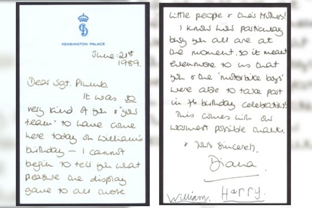 Carta de Lady Di subastada por William George & Co.