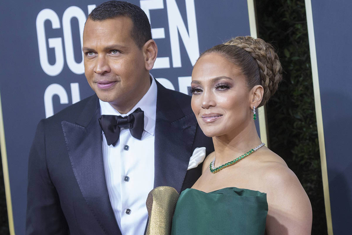 Actress and singer Jennifer Lopez and Alex Rodriguez at the 77th annual Golden Globe Awards on Sunday, Jan. 5, 2020, in Beverly Hills, Calif.
