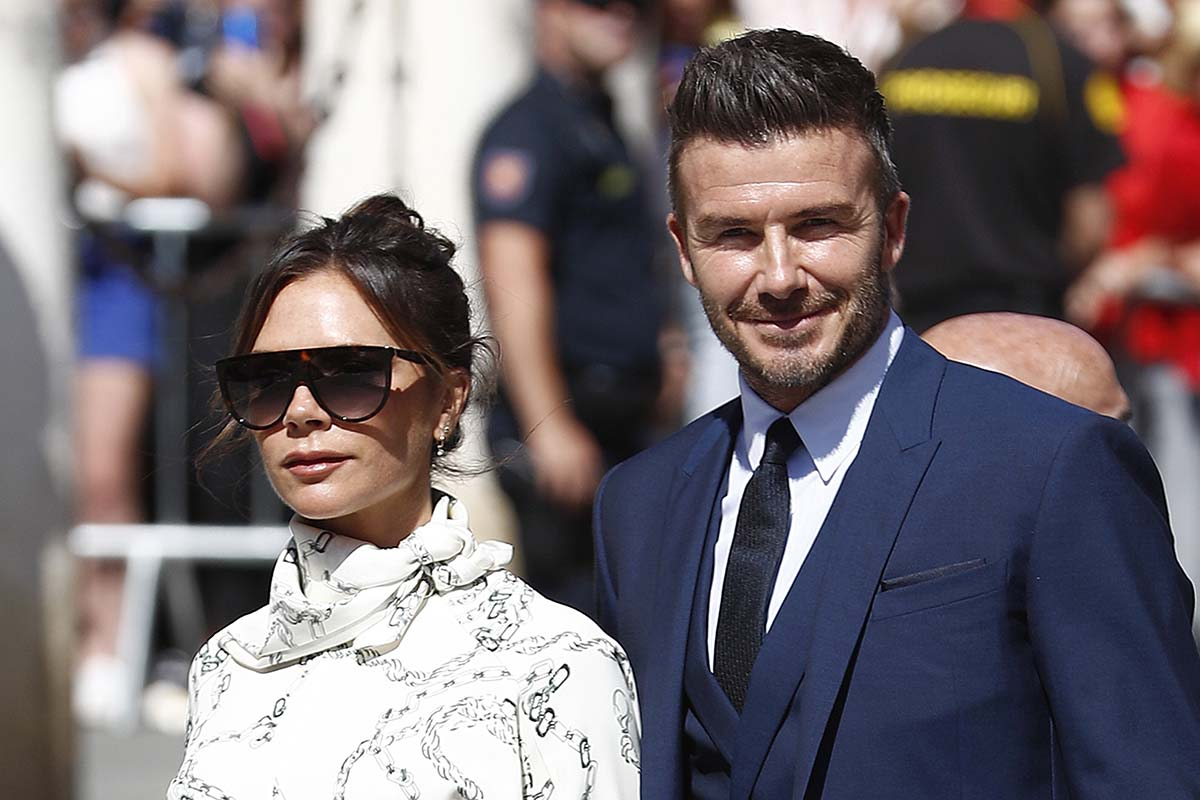 Designer and former singer Victoria Adams and former soccerplayer David Beckham during the wedding of Sergio Ramos and Pilar Rubio in Seville on Saturday, 15 June 2019.