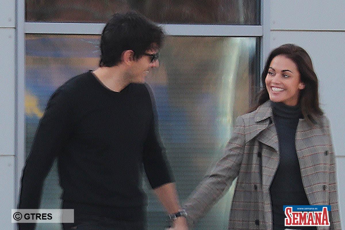 Journalist Lara Alvarez with model Andres Velencoso in Tossa de Mar Girona 30/11/2019