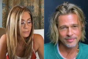 El tonteo de Brad Pitt y Jennifer Aniston en su reencuentro virtual incendia las redes