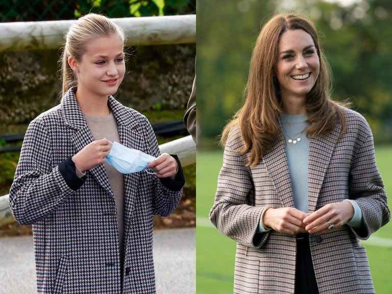 Leonor y Kate Middleton ya llevan el abrigo más favorecedor del otoño (ambos de marcas españolas)
