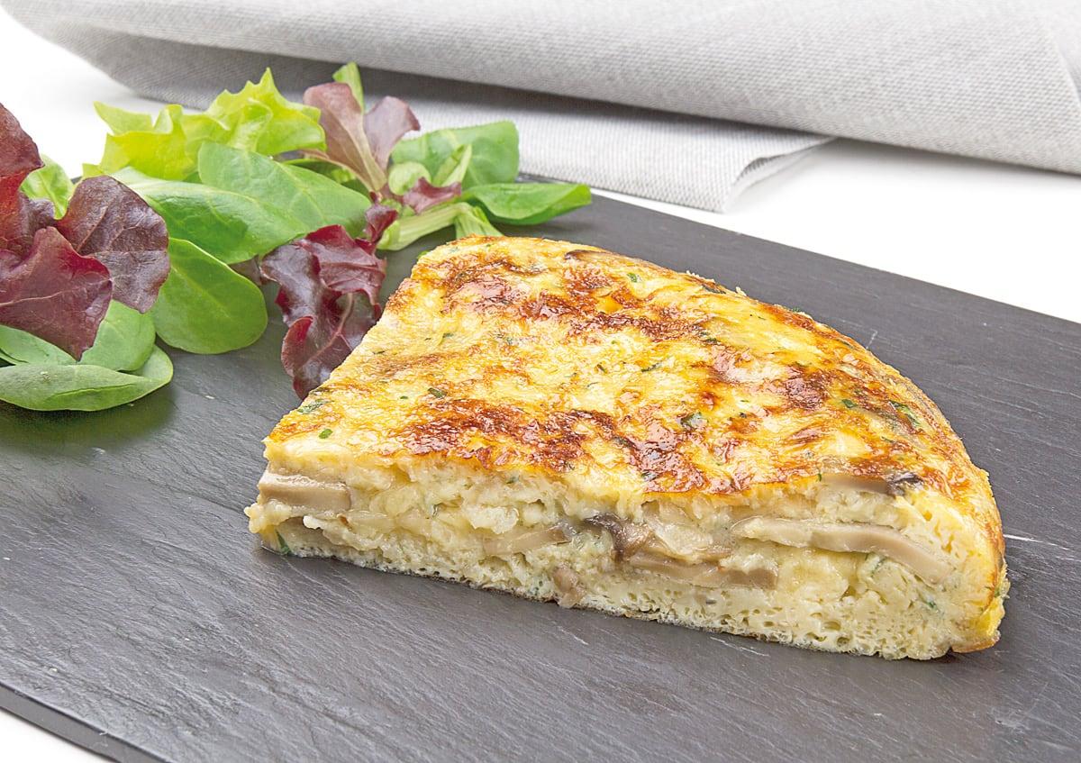 Tortilla de champiñones y queso