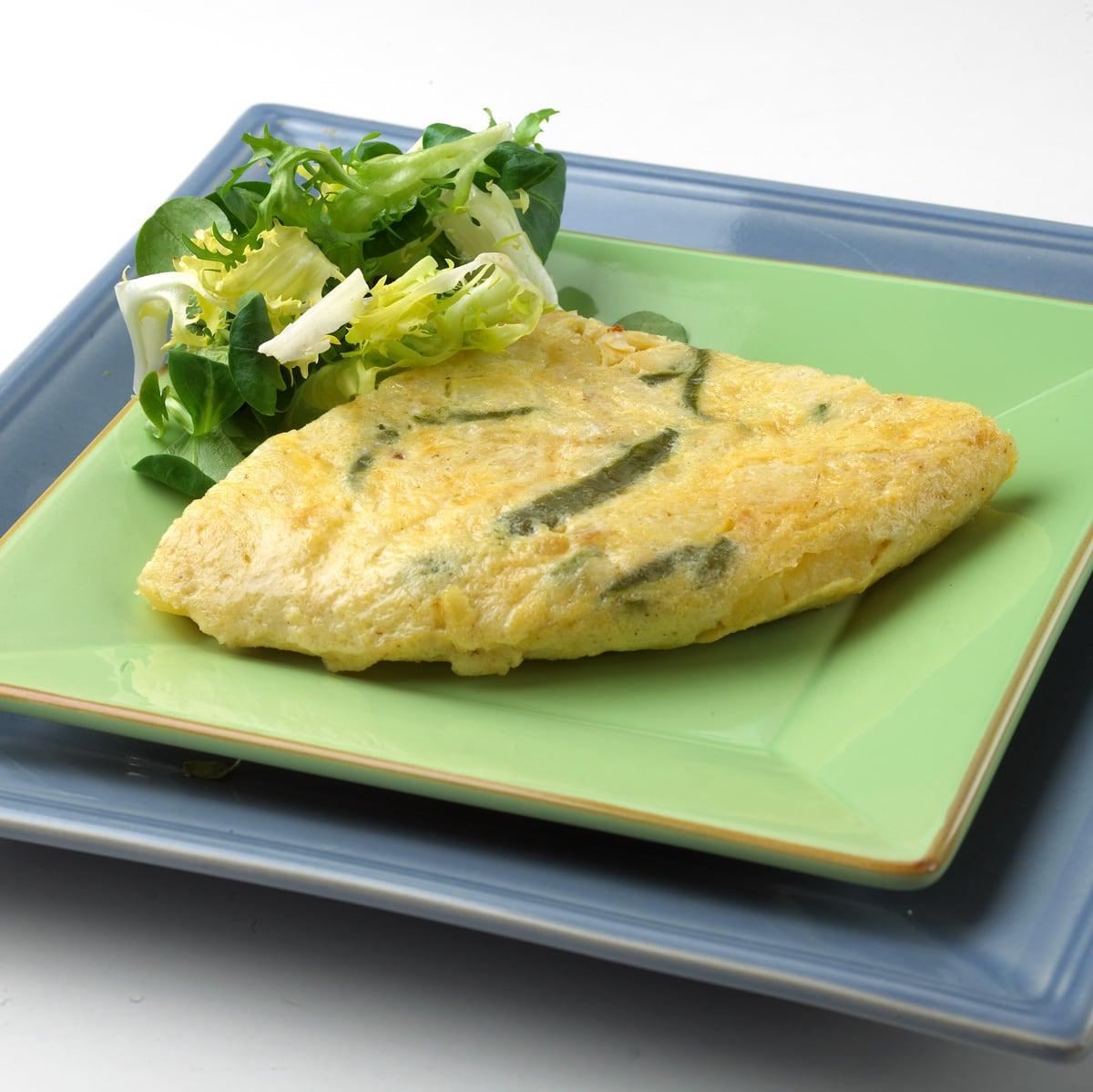 Tortilla de bacalao y pimientos