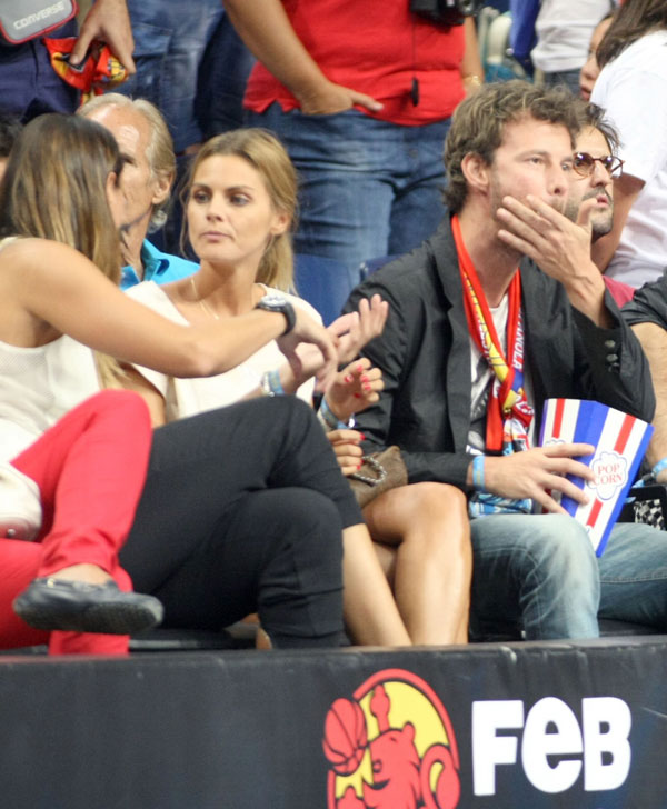 "Amaia Salamanca y Dani Martinez during the friendly basketball match between "" España 86 vs 53 Argentina "" in the Sports Palace of Madrid. Monday 26 August 2014"