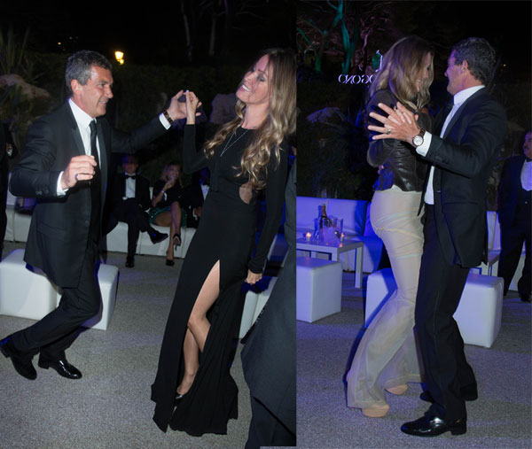 Actor Antonio Banderas and female friend at Eden Roc during the 67 th Cannes Film festival in Cap d'Antibes, France on may 20, 2014.