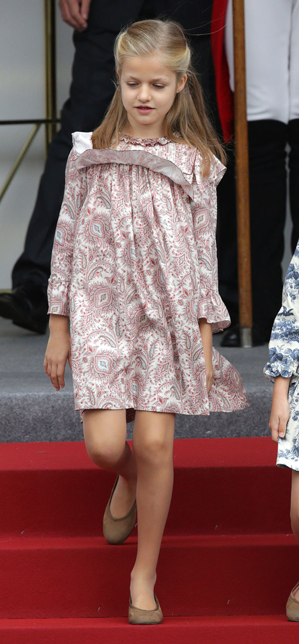 Princess Leonor of Borbon attending a military parade, during the known as Dia de la Hispanidad, Spain's National Day, in Madrid, Spain, Sunday, Oct. 12, 2014.
