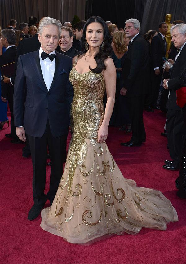 Michael Douglas y Catherine Zeta Jones en los Oscar de 2013