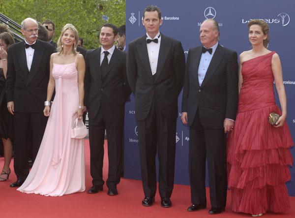 El rey con los duques de Palma y la princesa Corinna en la gala de los Premios Laureus de 2006
