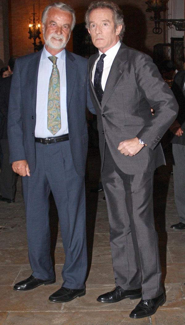Duque de Alba y doctor Trujillo en la boda de Fernando Solis en Sevilla