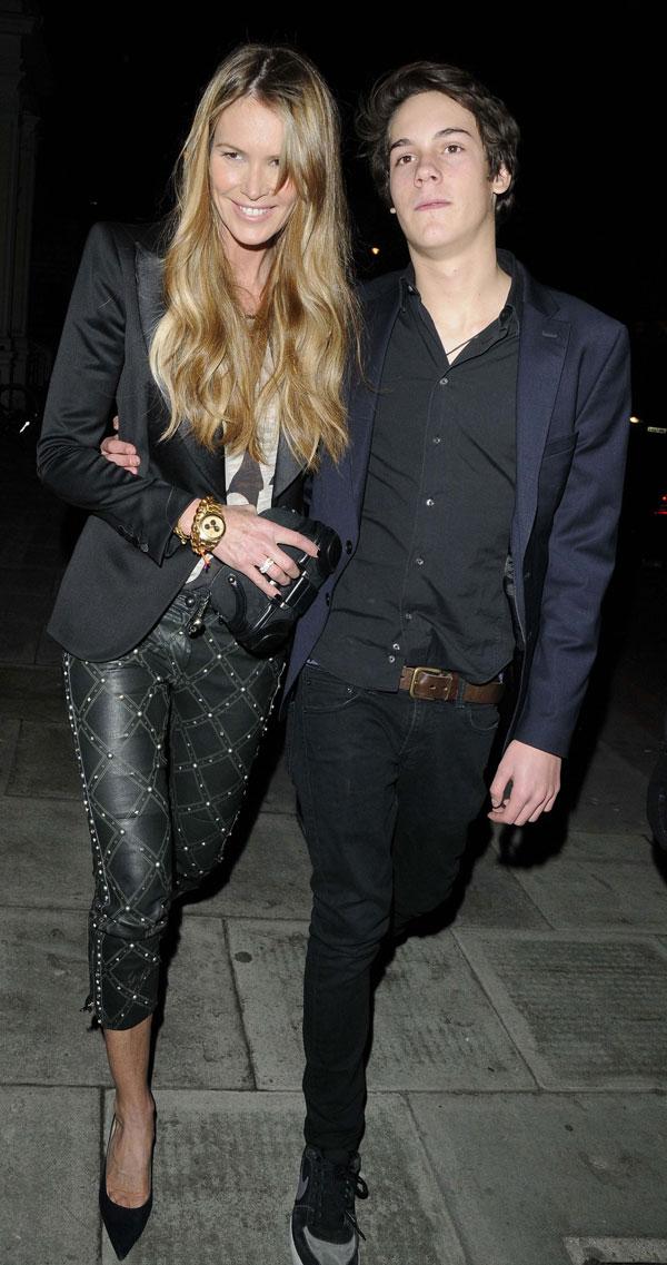Elle Macpherson y su hijo Arpad Flynn, de fiesta en Londres
