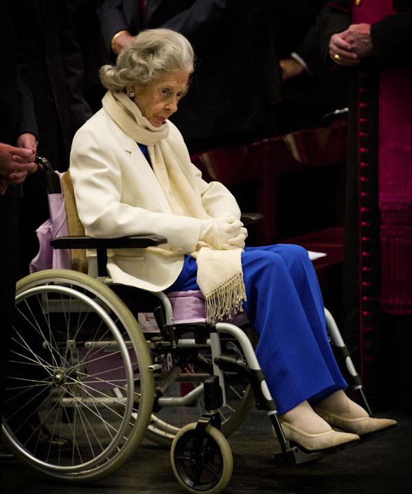 La reina Fabiola de Bélgica, en Bruselas, en el homenaje al rey Balduino en el XX aniversario de su fallecimiento