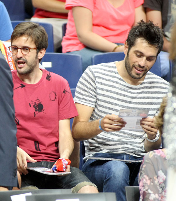 "Julian Lopez and Dani Martinez during the friendly basketball match between "" España 86 vs 53 Argentina "" in the Sports Palace of Madrid. Monday 26 August 2014"