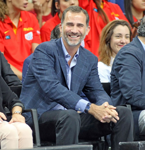 "The King of Spain Felipe VI during the friendly basketball match between "" España 86 vs 53 Argentina "" in the Sports Palace of Madrid. Monday 26 August 2014"