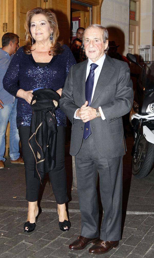 José María García y su mujer, Montse Fraile, en el 70 cumpleaños del periodista