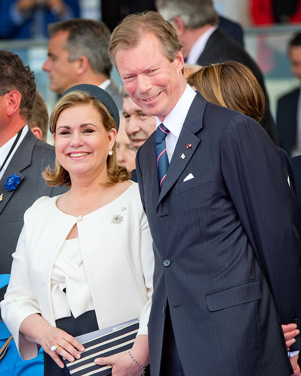 Grand Duke of Luxembourg Henri and the Grand Duchess Maria Teresa during the international D-Day commemoration ceremony in Normandy, on June 6, 2014, marking the 70th anniversary of the World War II Allied landings in Normandy.
