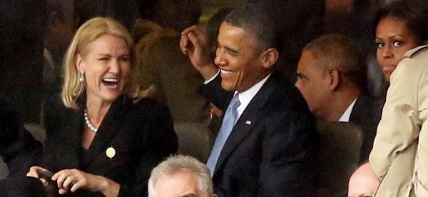 Helle Thorning-Schimdt y el matrimonio Obama en los funerales de Mandela